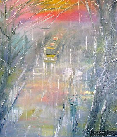 Желтый автобус на серой дороге