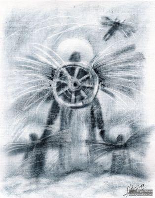 Ангелы. Бумага, Сухая кисть. 29х21см.