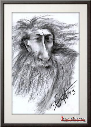 Аристофан. Рисунок углем. Иллюстрация