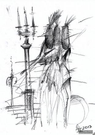 Балерины. Рисунок. Бумага, угольный карандаш. 29х21см.