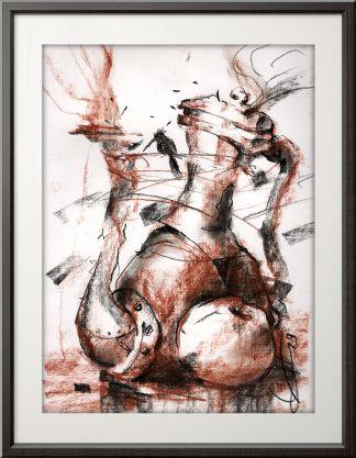 Чайник, яблоко, колибри. Рисунок углем и сангиной.
