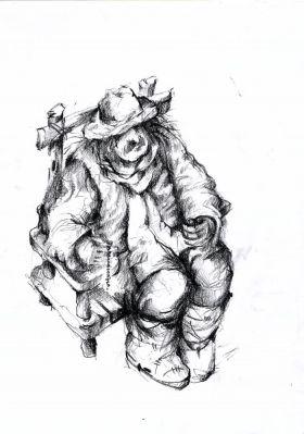 Человек истул. Бумага, уголь, 29х21см. 2017 год