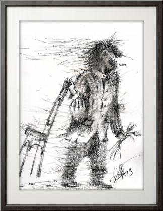 Человек с венским стулом и луком.