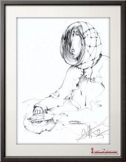 Гадание на разбитом блюдце. Рисунок карандашом. 21х30 см.