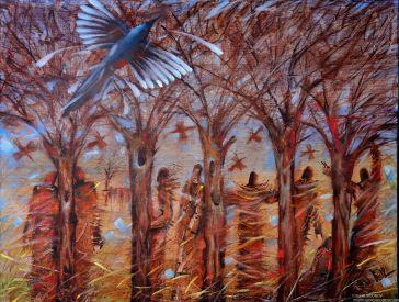 Картина Люди и деревья. Холст, масло. Современное искусство