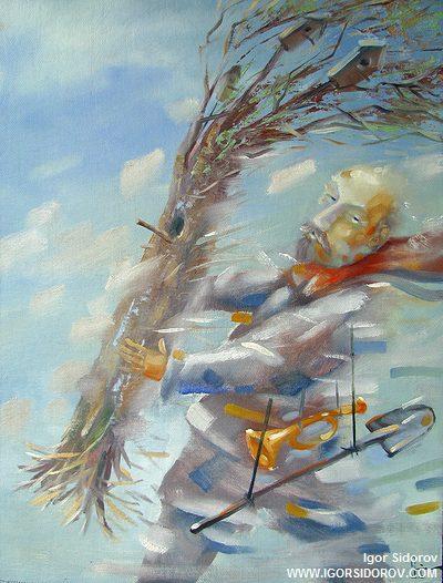Воспоминание оЛенине — проросшее бревно — х.м. 42x62, Игорь Сидоров, Екатеринбург-2009